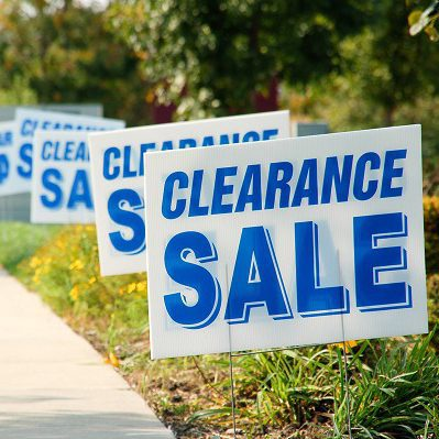 Clearance Sale Signs in a Row Picture